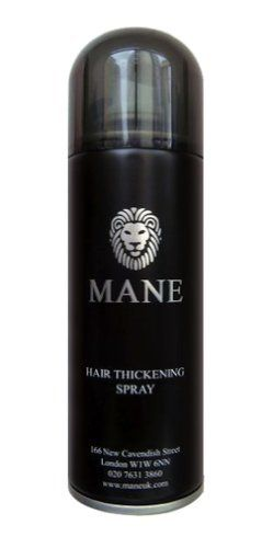 Mane America Hair Thickening Spray (Black) by Mane America. $27.98. Waterproof-Weather Proof. Organic Thickening Solution. Hair Building Fiber Spray. Unisex. Instantly Solves Balding & Thinning Problem. Mane America Hair Thickener is a cosmetic treatment designed to give the appearance of thicker hair. It works by attaching natural micro-fibres to your existing hair making it appear thicker and dramatically reducing the appearance of thinning hair or bald spots. ...