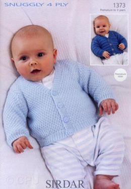 Sirdar Snuggly 4 Ply Baby Boys Cardigan 1373