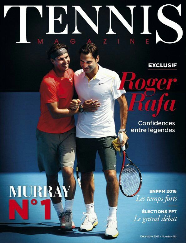 Rafael Nadal and Roger Federer cover the December 2016 of Tennis Magazine France.