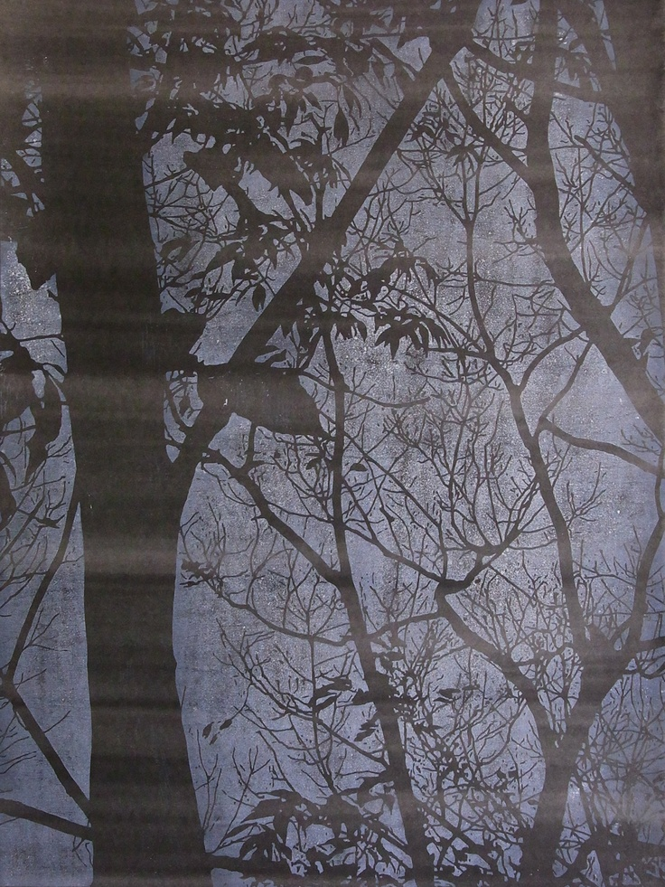 Travelling forest #1 (2010) by Katsutoshi Yuasa; Oil-based woodcut on painted paper; 72cm x 54cm; Artify Gallery