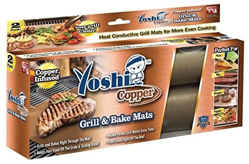 Amazon Com Yoshi Copper Grill Mats Heavy Duty Up To 500 Degree 2 Grill Mats Reusable Garden Outdoor In 2020 Baking Mat Grill Mats Grill Accessories