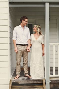 Casual Country Groom Style- Not sure about the thongs tho!