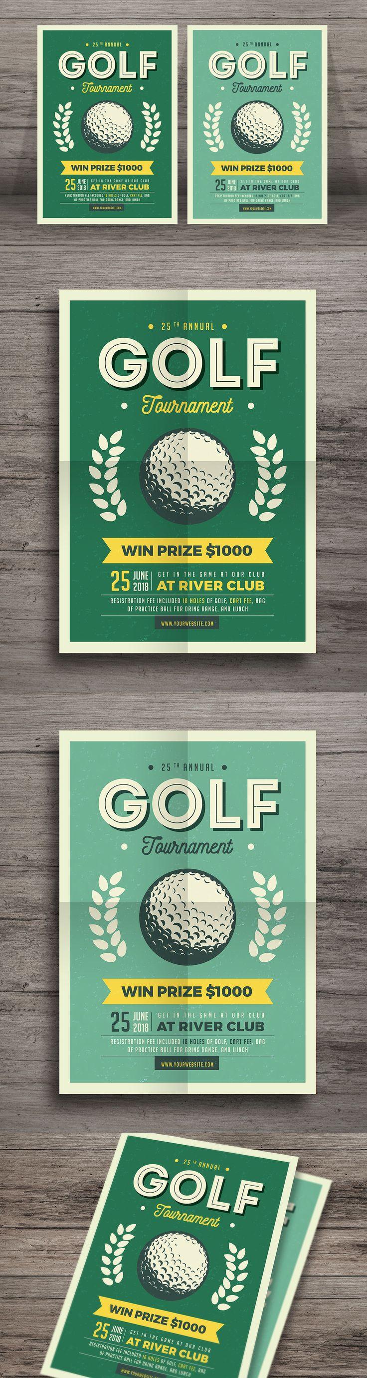 Vintage Golf Flyer Template AI, PSD