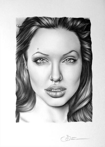 Angelina Jolie Portrait fino arte lápiz dibujo por IleanaHunter