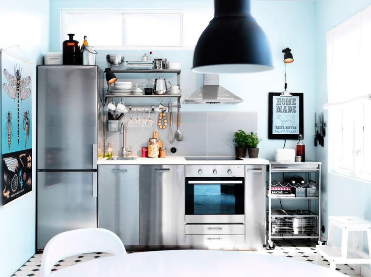 ikea moderna cocina de una sola hilera con frentes hyttan y encimeras oscuras