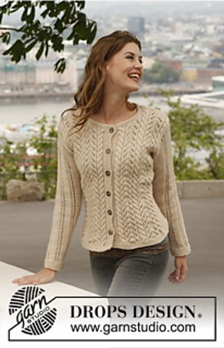 Ravelry: 140-1 Champagne - Jacket with cables and lace pattern in Lima pattern by DROPS design FREE PATTERN