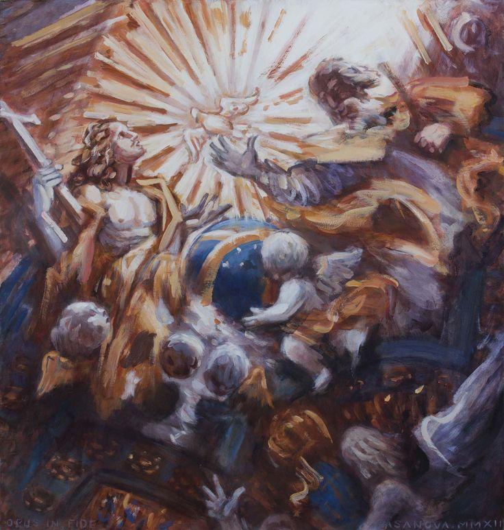 La Sainte Trinité, à l' intérieur du Gesù; d' après le groupe sculpté de Ottoni et Ludovisi; 110x105 cm; huile sur papier marouflé sur toile; 2012; collection privée, France