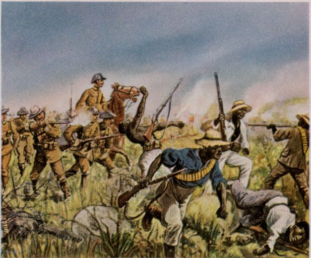 File:Hererowars.jpg German Schutztruppe in combat with the Herero in a painting by Richard Knötel.