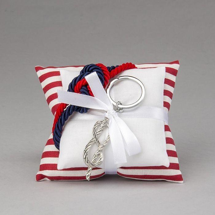 Doppio cuscino in cotone con portachiavi in acciaio nodo marino | Bomboniere per Comunione