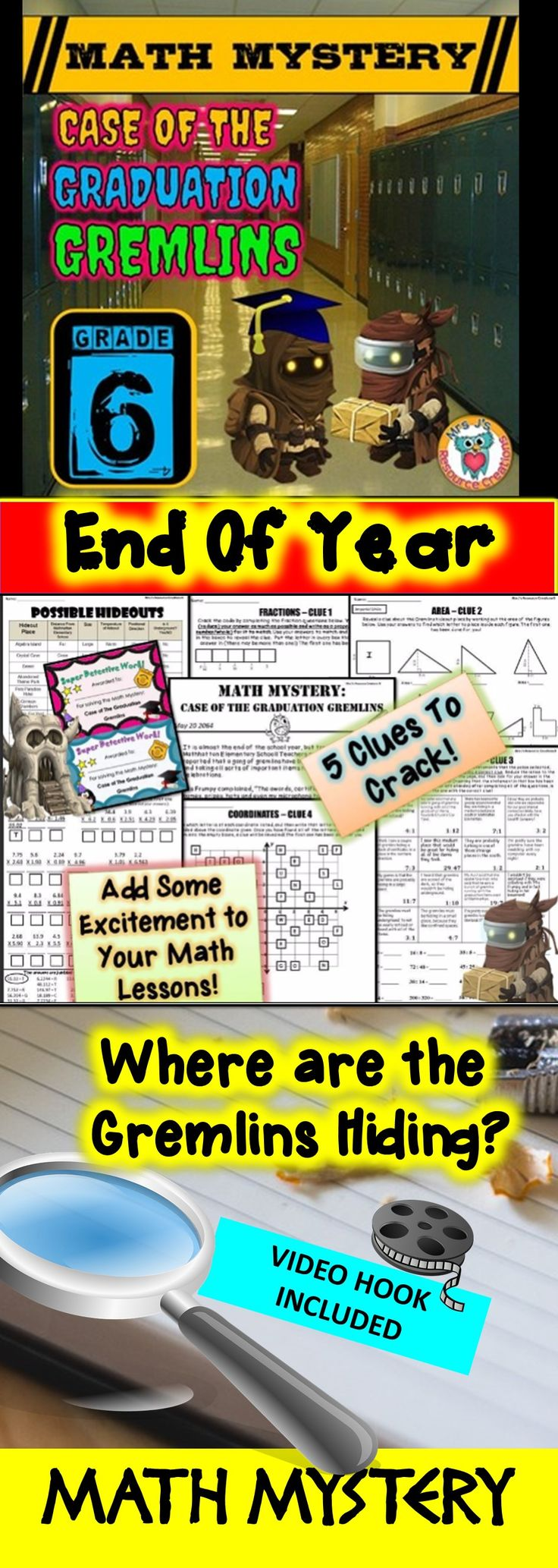 End of Year Math Mystery: Case of The Graduation Gremlins - Sixth Grade Version. Fun math review activity!