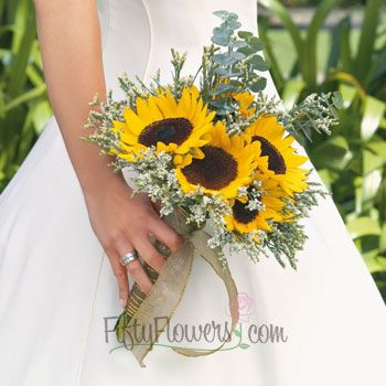 Sunflowers with grey mix. FiftyFlowers.com - Sunflower Wedding Flowers Box - 10 Package