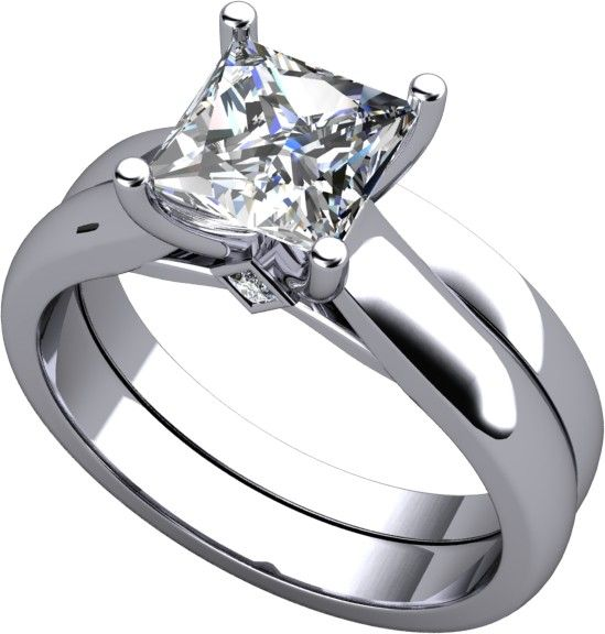 Princess Cut Cathedral Style Wedding Set Available In And Platinum Man Made Diamonds