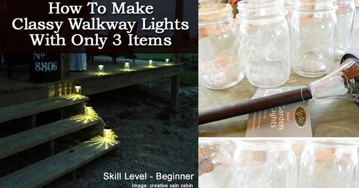 shares Follow For lighting a walkway or garden path for a party, solar mason jar lighting can be magical… this project could very possibly be one of the easiest to do and simple to understand. On top of that you only need 3 items: Small mouth mason jars Solar garden lights Hot glue gun Depending …