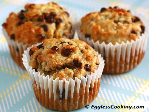 Banana Chocolate Chip Muffins- Eggless Cooking... Bringing back Muffin Mondays for the boys! Everything is prepared for am. :)  @Heather Shaw, thanks for the prep idea!