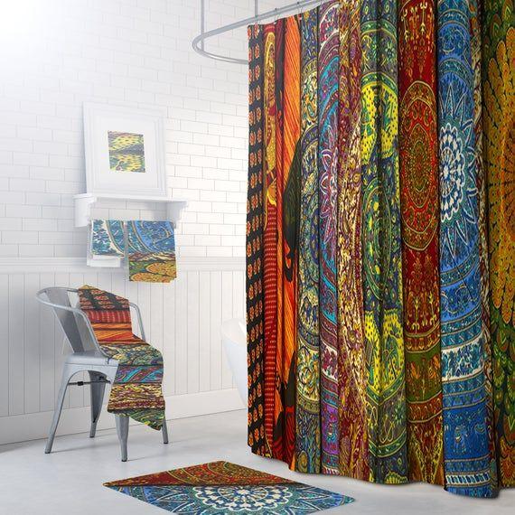 Bohemian Shower Curtain Boho Bathroom Decor Batik Stripe In 2020