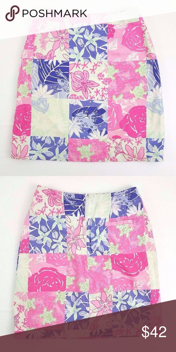 """Lilly Pulitzer Tortoise & Hare Patch Skirt You are buying a Lilly Pulitzer Garment  Style: Tortoise & Hare Patch Straight/Pencil Skirt  Color: Multi-color  Size: 0 Condition: No rips, stains, tears, holes, or fading Measurements: 12X18"""" Waist & Length  Garment may be wrinkled (K029) Lilly Pulitzer Skirts"""