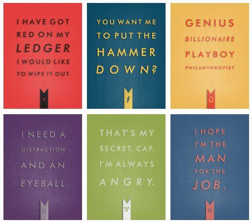 Black Widow, Thor, Iron Man, Hawkeye, Hulk, Captain America. Infamous quotes.