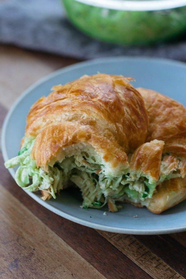 This Avocado Chicken Salad Croissant Sandwich is a lightened-up version of the classic chicken salad made without mayonnaise - nutrition packed power lunch!