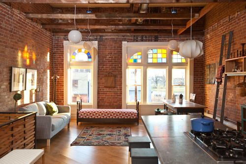 Two of my favorite features of industrial lofts are the exposed brick