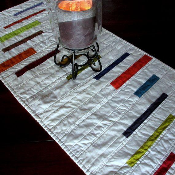 Modern table runner quilted table runner stripes for Modern table runner