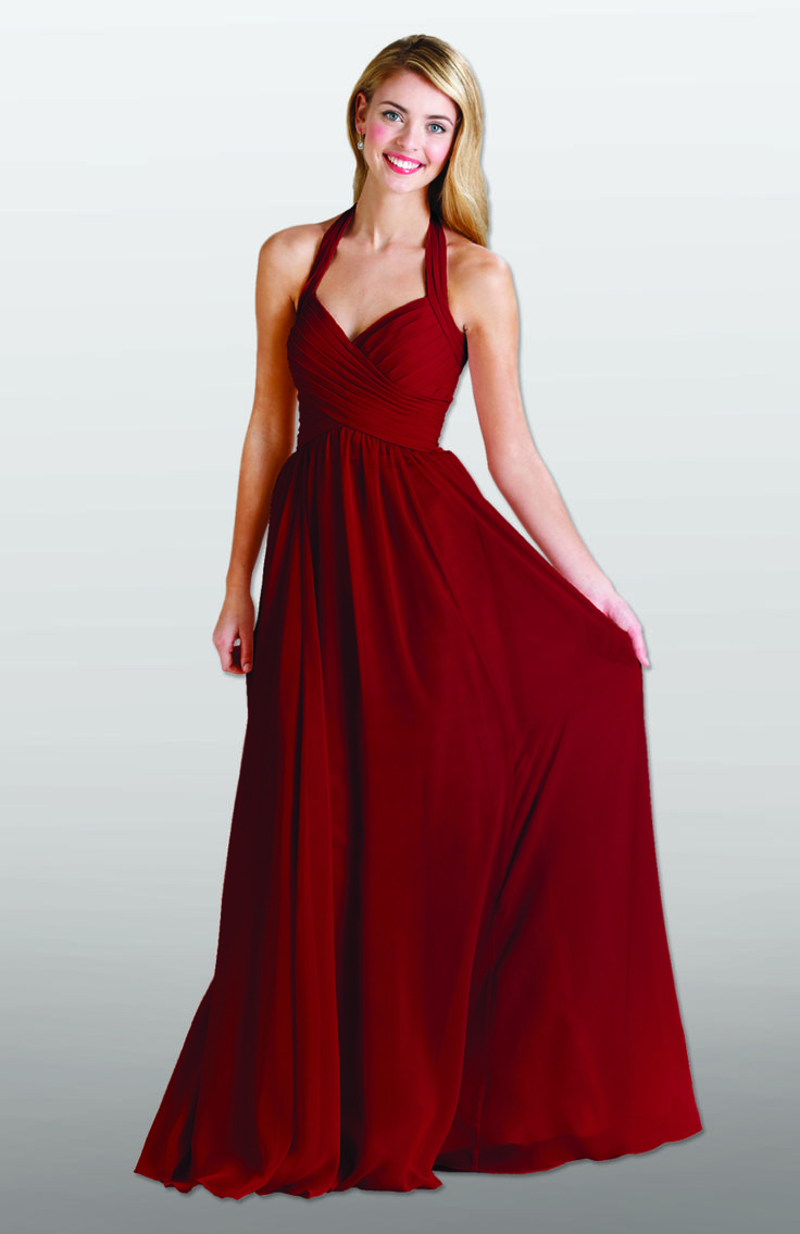 A long, red bridesmaid dress with a halter neckline. Featured in Claret | Kennedy Blue