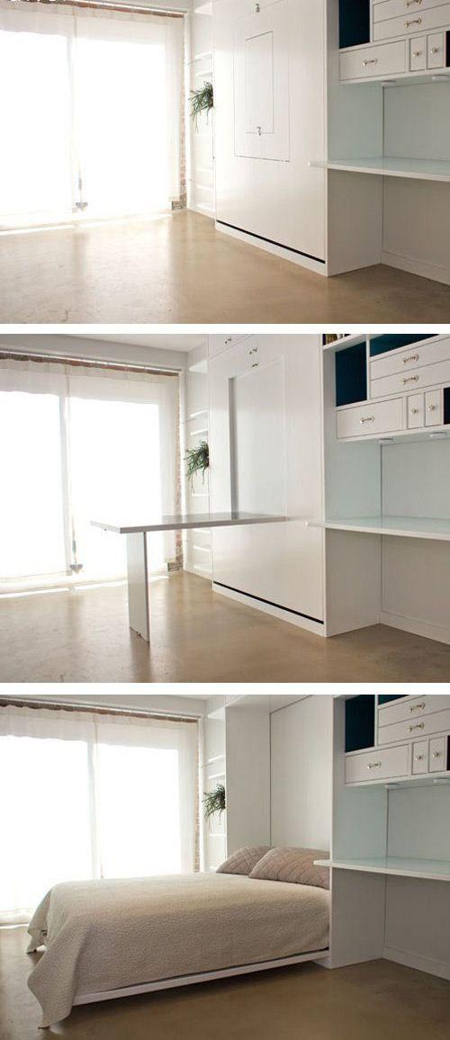 Murphy bed. Good idea for studio apartment #minimalist #design