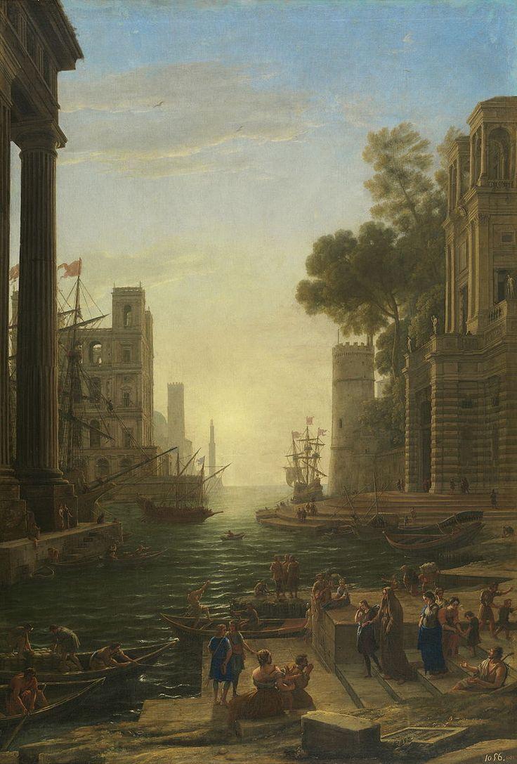 Paisaje con el embarco en Ostia de Santa Paula Romana (Gellée) - Museo del Prado - El embarque de santa Paula, por Claudio de Lorena, 1639-40.