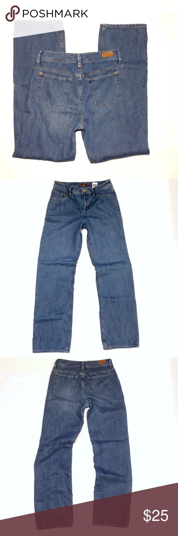 """Eddie Bauer flannel lined jeans size 4 Eddie Bauer natural fit flannel lined jeans. Ladies size 4. Excellent condition. No rips stains or tears. 100% cotton. Actual measurements are:   Waist 30"""" Inseam 31"""" Rise 9""""  Thanks Eddie Bauer Jeans Straight Leg"""