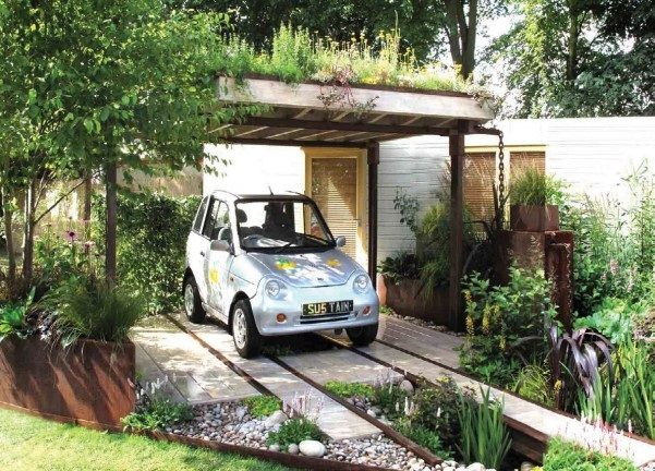 Metal Carport Landscaping : Green roof rain garden design and driveway for electric