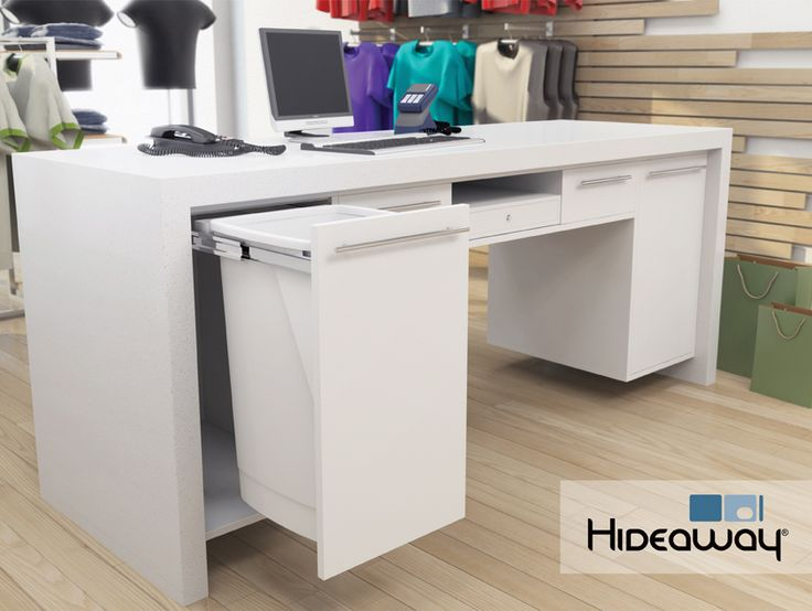 Install a Hideaway Bin in a retail environment to keep the check-out area tidy and clutter free. Waste, plastic shopping bags or clothing hangers can be stored using a 50L bin or separated neatly using a double 15L bin.
