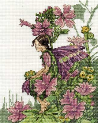 """M"" for Mallow Flower Fairy cross stitch"