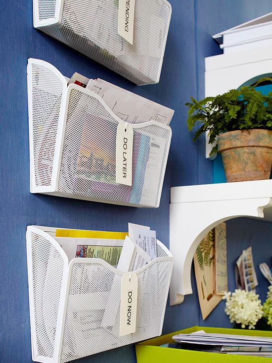 from Better Homes and Gardens   Install hanging magazine holders on the  wall to organize mail and other documents in a quick. 28625 best BHG s Time Savers for Busy Families images on Pinterest
