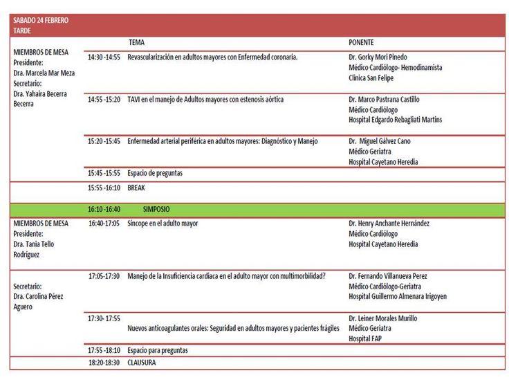 Invitados! Sábado 24 de Febrero 8am-7pm I JORNADA DE CARDIOLOGIA GERIÁTRICA , organizado por la SOCIEDAD PERUANA DE GERIATRIA(SOPERGER), con Auspicio de la Sociedad Peruana de Cardiologia, Colegio Médico del Perú y Universidad Peruana Cayetano Heredia. Válido para la recertificación médica Lugar: Auditorio Hugo Lumbreras, Av. Armendariz 445, Miraflores. Informes e inscripciones: soperger@yahoo.com.pe / 968009628.