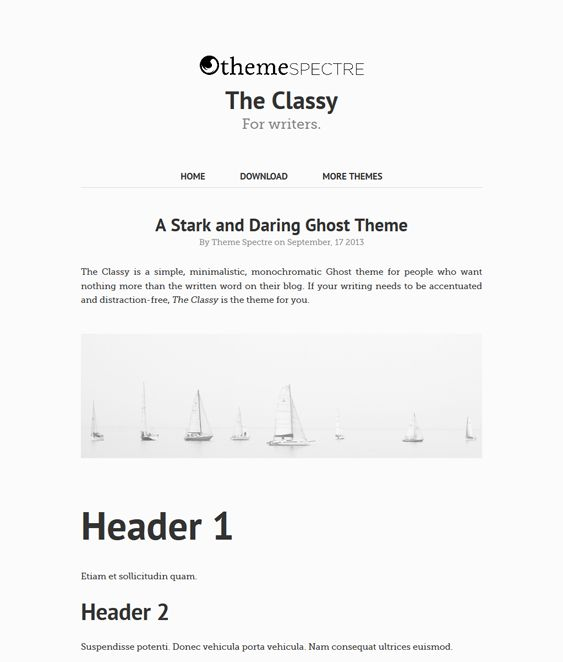 This free minimal Ghost theme offers a responsive layout, a clean design, and more.