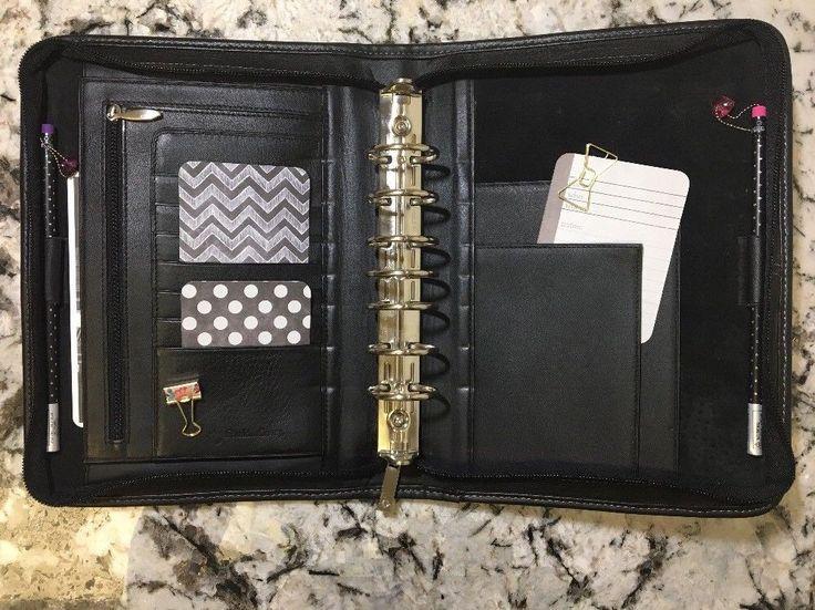 Franklin Covey Planner Notebook Binder Genuine Leather Black Classic Zip 7 Rings  | eBay