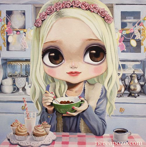 Nerea Pozo: Breakfast and flowers Oil on Canvas 3D 40 x 40 cm 2013
