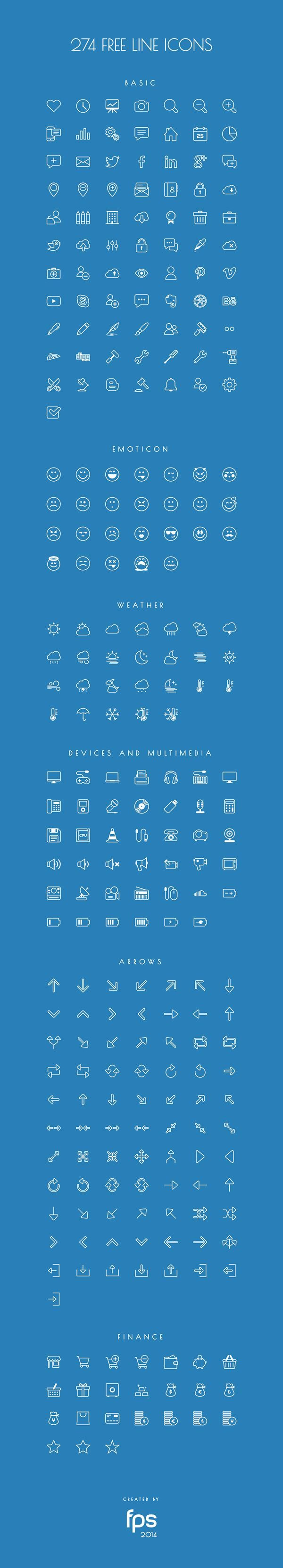 274 Vector Line Icons for free on Behance: