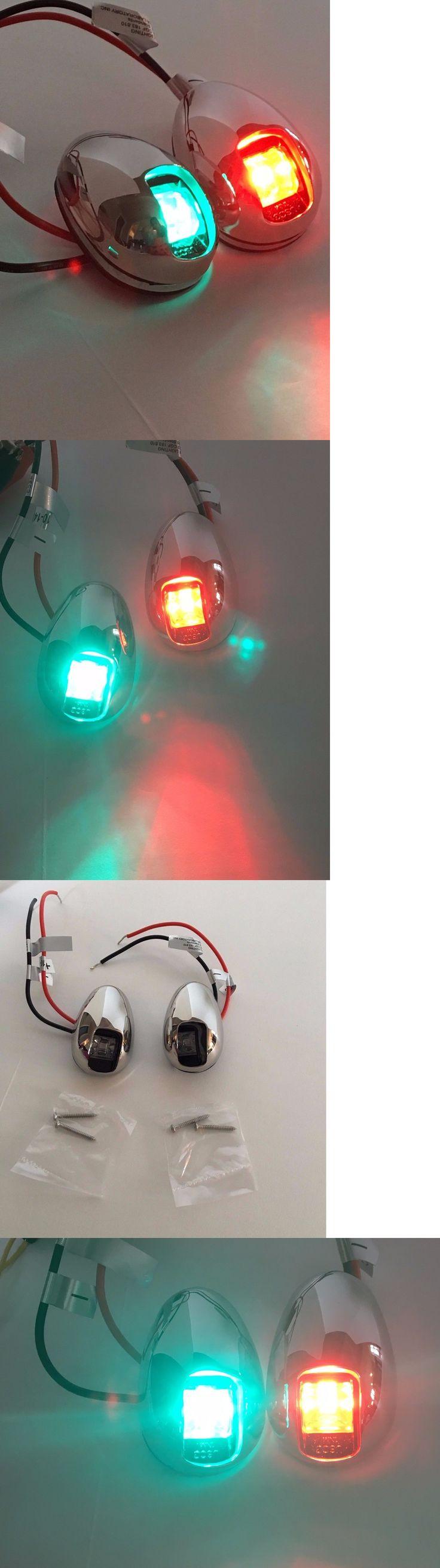 boat parts: 1 Pair Red And Green Boat Vertical Mount 12V Led Navigation Lights Side Marker BUY IT NOW ONLY: $41.99