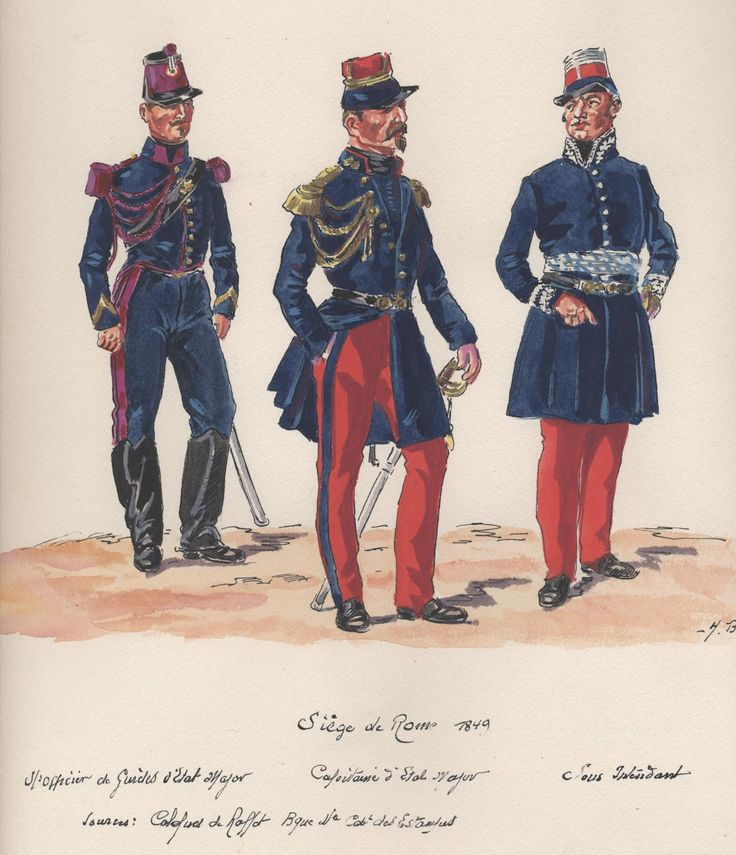 Siege of Rome 1849; The First of Napoleon III's military endeavours, he was still President at the time. L to R Sous Officer Staff Guides, Captain of the Staff and Sous-Lieutenant