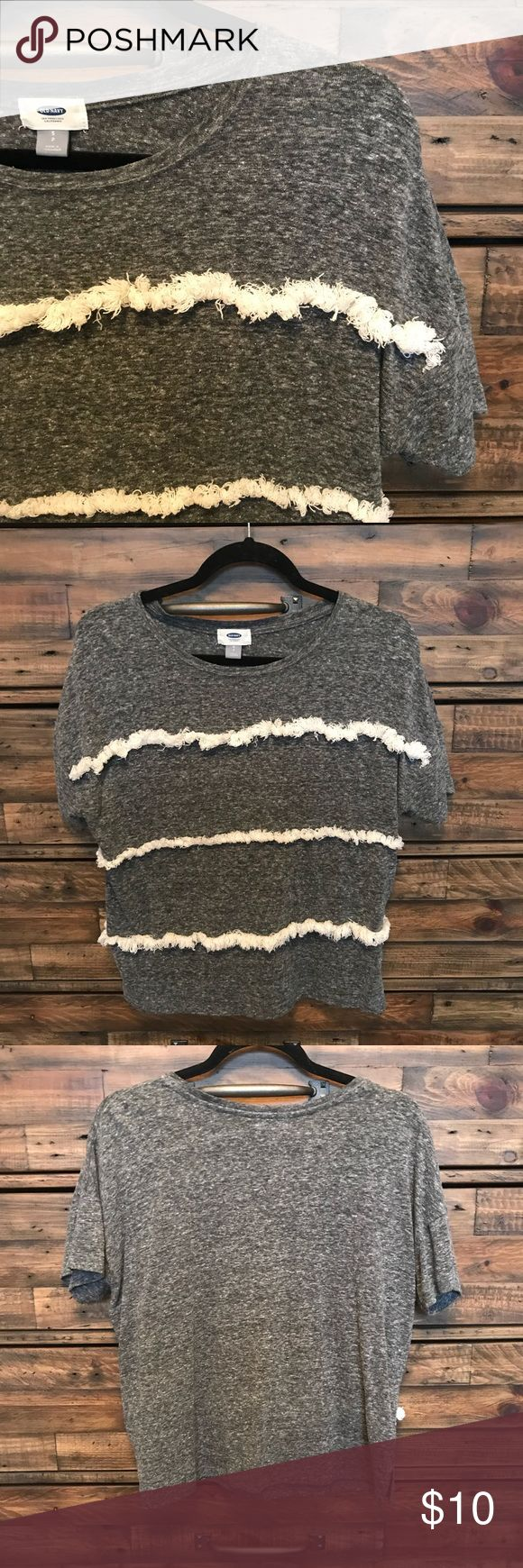 """Old Navy Short Sleeve Top Gently used - worn a few times - Old Navy frilly pattern short sleeve top - comfy fit (goes great w/ a bralette) - from being washed some of the """"frills"""" don't fall flat - offers welcome! Old Navy Tops Tees - Short Sleeve"""