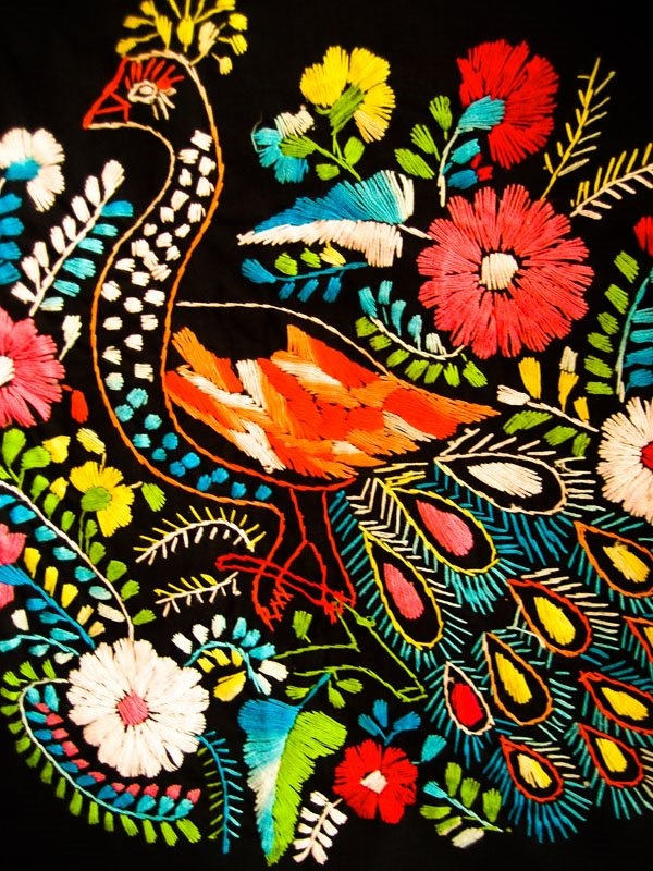 mexican dress embroidery detail.. lovely peacock