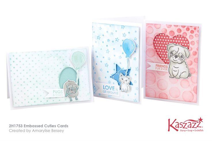 2H1753 Embossed Cuties Cards