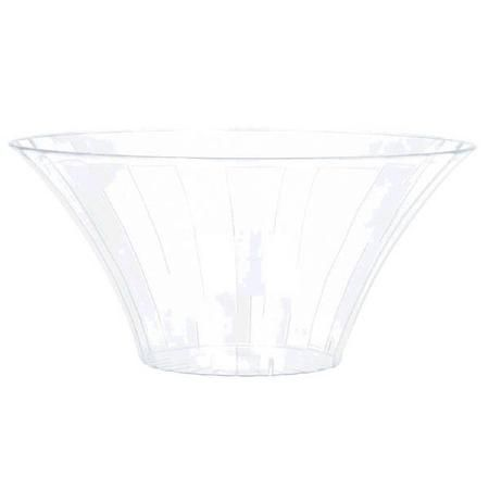Our Clear Plastic Flared Bowl offers an enticing display for tempting treats. The clear plastic lets you include the container in any theme or color scheme, perfect for candy buffet displays or everyday use. Package contains one large plastic flared bowl measuring 9in in diameter. Flared bowl is NOT microwave or dishwasher safe.