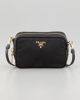Tessuto Small Crossbody Bag, Black By Prada at Bergdorf Goodman