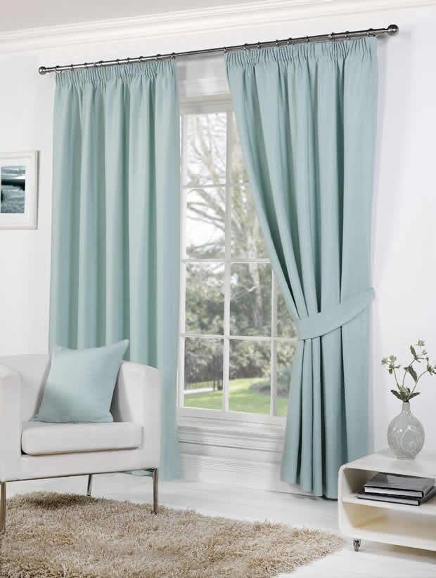 Duck egg blue curtains x