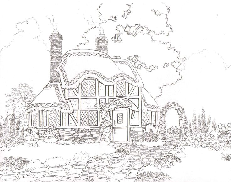 cottage coloring pages - photo#17