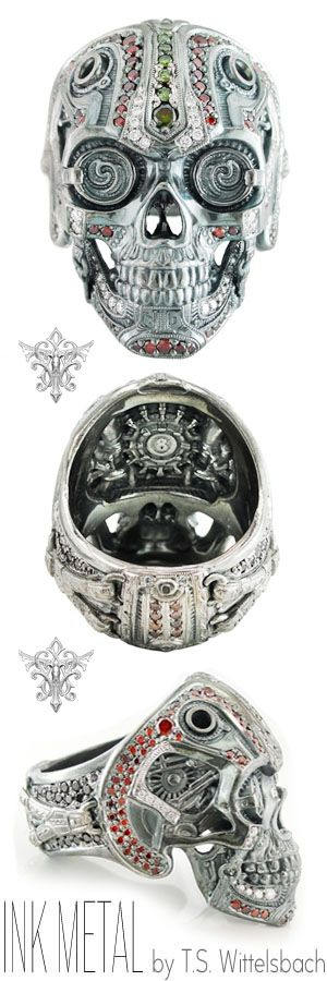 Cast in palladium and exposed to ultra-high heat, T.S. Wittelsbach's Steampunk Skull Ring radiates retro-futurism through an eerie metallic luster. Mechanically precise details are set with red, green, and white diamonds throughout.