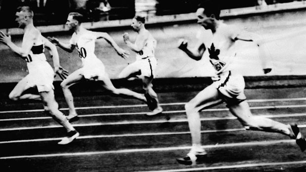 Percy Williams, (far right) won gold the men's 200m at the 1928 Amsterdam Games. This was his eight race in four days. He also won gold in the 100m race. #cdnhistory
