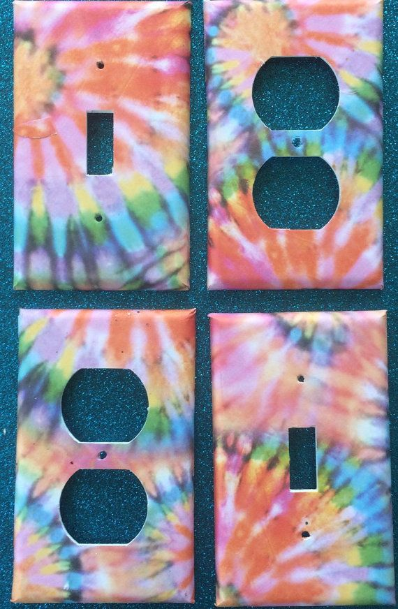 Switchplate Outlet Cover tie dye hippy rasta festival by ArtZodiac