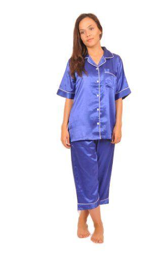 Sleeved Womens Blue Satin Pajamas